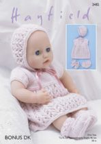 Sirdar DK Knitting Pattern - 2482 Baby Dolls Dress, Bonnet, Bootees and Pants